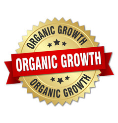 Organic growth round isolated gold badge vector