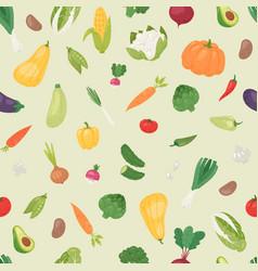 organic vegetables seamless pattern vector image