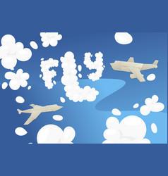 origami flight transport blue sky cutting paper vector image