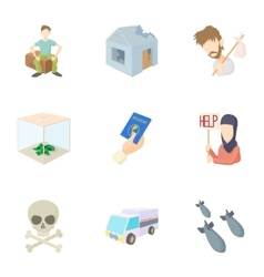People refugees icons set cartoon style vector
