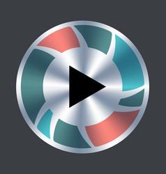 play web button metallic and color button vector image