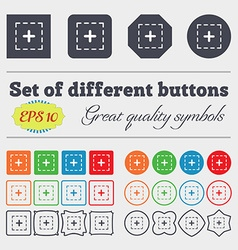 Plus in square icon sign Big set of colorful vector