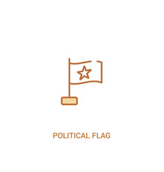 Political flag concept 2 colored icon simple line vector