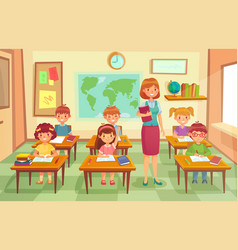 Pupils and teacher in classroom school pedagogue vector