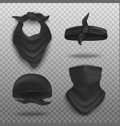Realistic black bandana mockup set - neck scarf vector