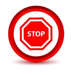 Red stop icon vector