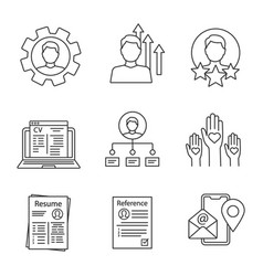 resume linear icons set vector image