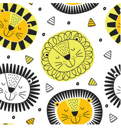 Seamless pattern with lion in scandinavian vector