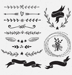 set hand drawn floral frames and dividers vector image