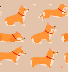set of poses and emotions dog seamless pattern vector image