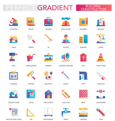 set of trendy flat gradient building vector image