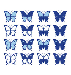 shapes pretty butterflies vector image