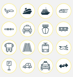 shipping icons set collection of transport air vector image
