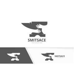 Smith and hands logo combination vector