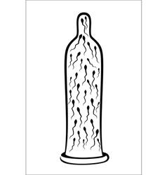 Sperm inside condom vector