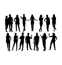 standing people and activity silhouettes vector image