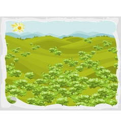 summer landscape green hills with trees in frame vector image