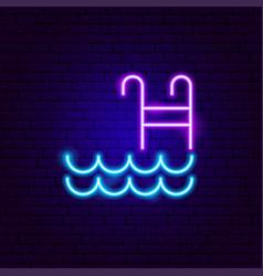 Swimming pool neon sign vector