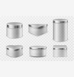 Transparent glass jars with metal lids vector