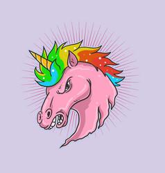 unicorn head graphic vector image