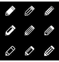 white pencil icon set vector image