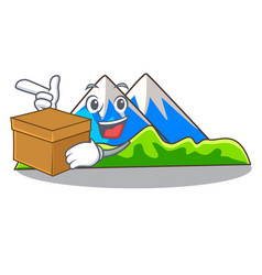 With box miniature mountain in the character form vector