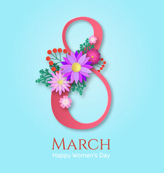 womens day greeting card papercut blooming vector image
