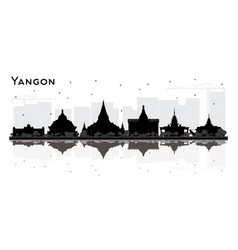 Yangon myanmar city skyline silhouette with black vector