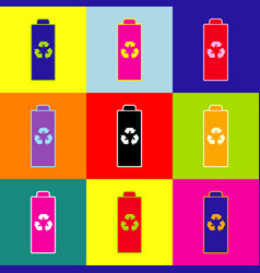battery recycle sign pop-art vector image
