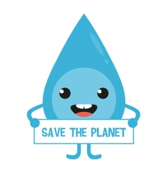 Cartoon water drop character with sign in hands vector image