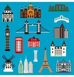 World travel landmark flat icons vector image vector image
