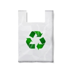 Blank plastic bag with green recycling sign vector image