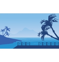 Blue silhouette of seaside scenery vector image vector image