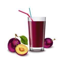 Plum juice glass vector image vector image