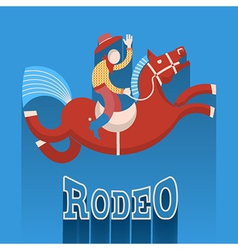 Rodeo posterCowboy on horse vector image vector image