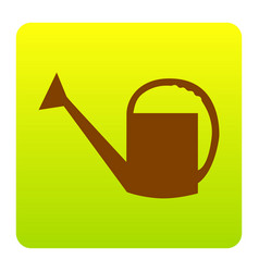 watering sign brown icon at green-yellow vector image