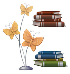 books and interior decor butterflies vector image vector image