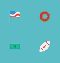 flat icons greenback football america and other vector image vector image