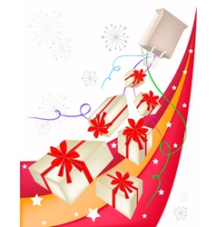 Gift Boxes with Red Ribbon on Beautiful Background vector image vector image