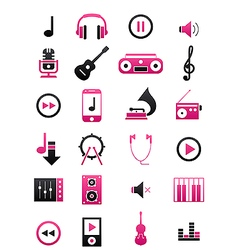 Pink black music icons set vector image vector image