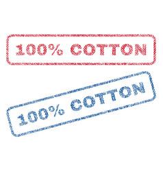 100 percent cotton textile stamps vector