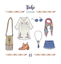 Bohemian fashion style set boho and gypsy vector