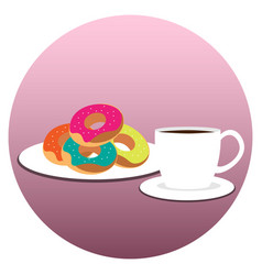 Coffee cup with donuts on plate vector