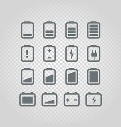 different accumulator status icons set design vector image vector image