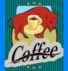 drawing of coffee with a car w vector image vector image