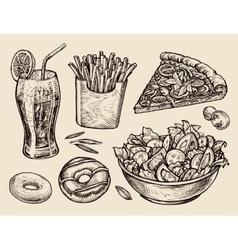 fast food hand drawn soda lemonade fries slice vector image