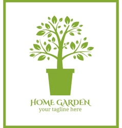 Home garden label tree in pot logo vector