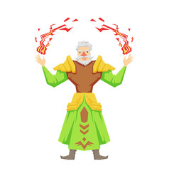 old bearded magician making magical passes vector image vector image