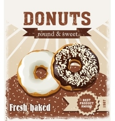 Poster with donuts painted in vintage style vector image