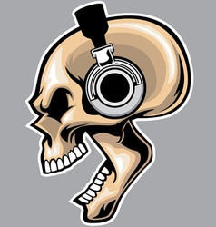 screaming skull wearing headphone vector image vector image